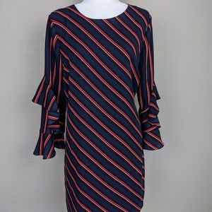 INC Navy Blue and Red Striped Shift Dress